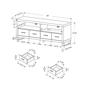 Monarch TV Stand - 60-in x 23.75-in - Composite - Dark Taupe