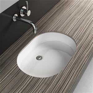 Cantrio Koncepts Undermount Bathroom Sink with Overflow - White