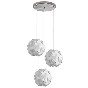 Dainolite Globus Pendant Light - 3-Light - 9-in x 9-in - White