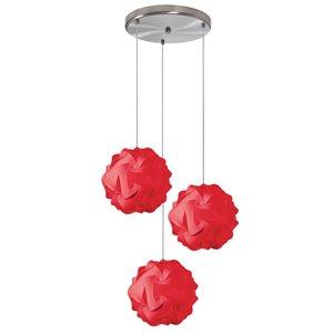 Dainolite Globus Pendant Light - 3-Light - 9-in x 9-in - Red