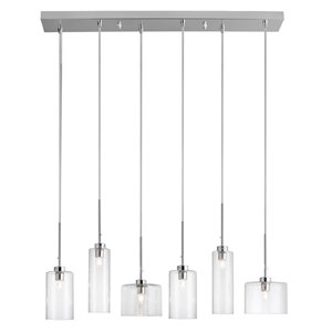 Dainolite Industrial Chic Pendant Light - 6-Light - 7-in x 7.5-in - Polished Chrome