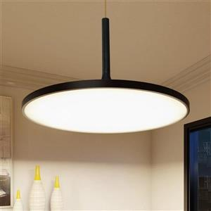 Vonn Lighting Salm Black Modern Round Integrated LED Pendant - 17-in