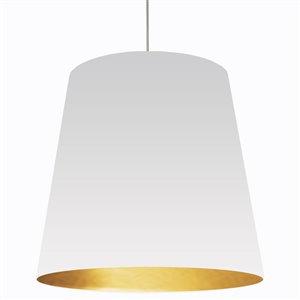 Dainolite Oversized Drum Pendant Light - 1-Light - 32-in x 32-in - White/Gold