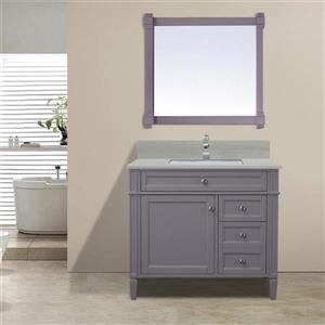 GEF Catalina Vanity with Solid Surface Top, 36-in Grey
