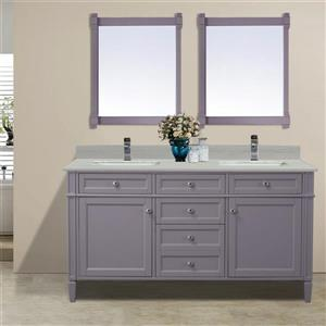 GEF Catalina Vanity with Solid Surface Top, 60-in Grey