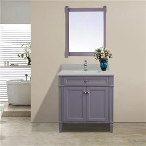 GEF Catalina Vanity with Solid Surface Top, 30-in Grey