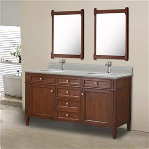 GEF Catalina Vanity with Solid Surface Top, 60-in Walnut