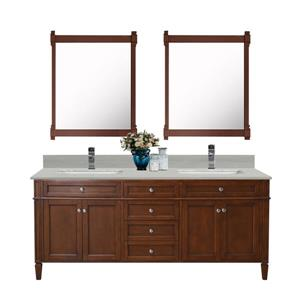 GEF Catalina Vanity with Solid Surface Top, 72-in Walnut