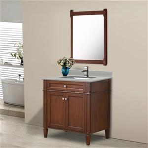 GEF Catalina Vanity with Solid Surface Top, 30-in Walnut