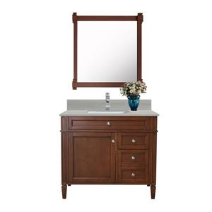 GEF Catalina Vanity with Solid Surface Top, 36-in Walnut
