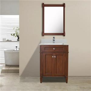 GEF Catalina Vanity with Solid Surface Top, 24-in Walnut