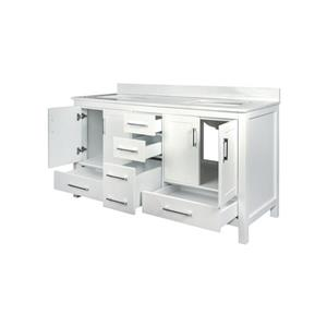 GEF Willow Vanity with Solid-Surface Top, 60-in White