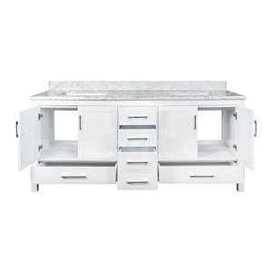 GEF Willow Vanity with Carrara Marble Top, 72-in White