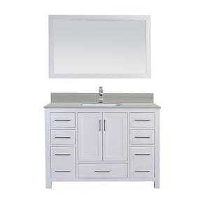 GEF Willow Vanity with Solid-Surface Top, 48-in White
