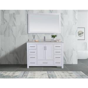 GEF Willow Vanity with White Quartz Top, 48-in White
