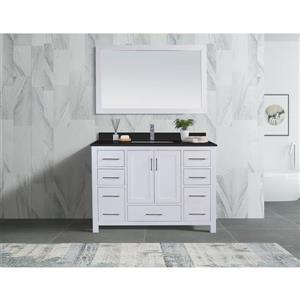 GEF Willow Vanity with Black Granite Top, 48-in White