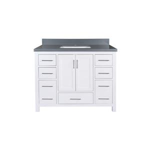 GEF Willow Vanity with Grey Quartz Top, 42-in White
