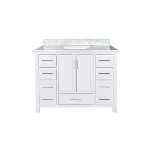 GEF Willow Vanity with Carrara Marble Top, 42-in White