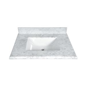 GEF Willow Vanity with Carrara Marble Top, 30-in White