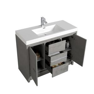 GEF Ember Vanity with Acrylic Top, 42-in Grey
