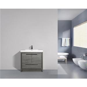 GEF Ember Vanity with Acrylic Top, 36-in Grey