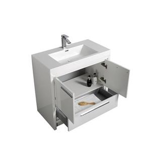 GEF Ember Vanity with Acrylic Top, 36-in White