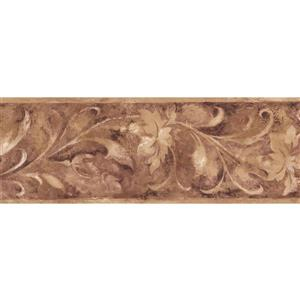 Norwall Sepia Abstract Floral Wallpaper Border - Beige