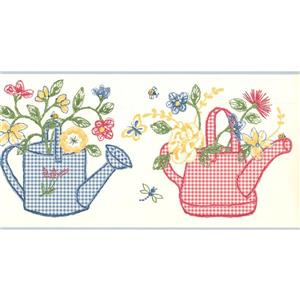York Wallcoverings Checkered Watering Cans and Flowers Wallpaper