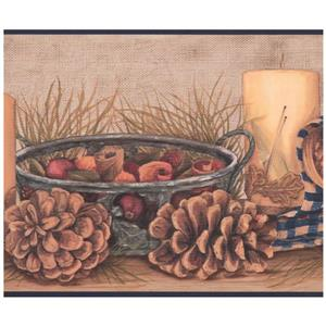 York Wallcoverings Pine Cones and Candle Wallpaper Border - Beige