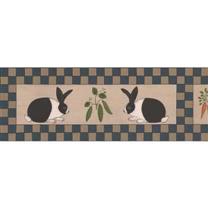 Norwall Vegetables and Rabbits Checkered Wallpaper