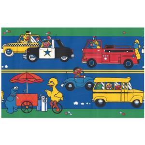 Retro Art Cartoon Firetruck and Taxi Wallpaper