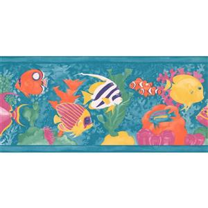Retro Art Cartoon Colorful Fish Wallpaper - Teal