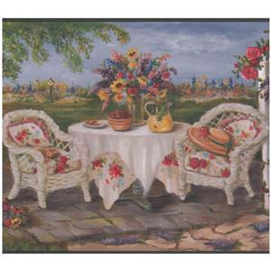 Retro Art Patio Armchairs and Flowers Country Life Wallpaper