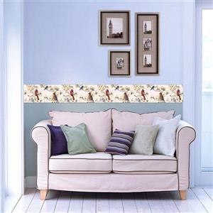 Retro Art Birds and Flowers Nature Wallpaper - White