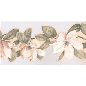 York Wallcoverings Flowers on Vine Scalloped Floral Wallpaper - Pink/White
