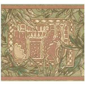 Retro Art Abstract Wallpaper Border - Green/Brown