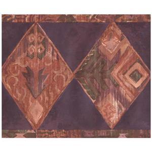 Retro Art Rhombus Southwestern Wallpaper Border - Mauve