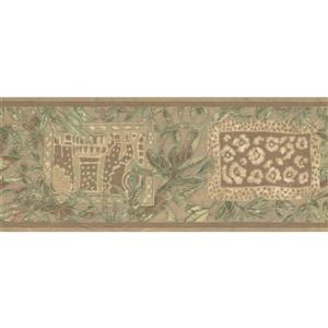 Retro Art Abstract Wallpaper Border - Green/Brown