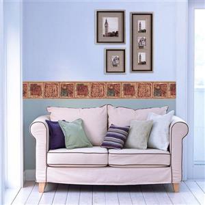 Retro Art Abstract Square Spirals Wallpaper - Brown