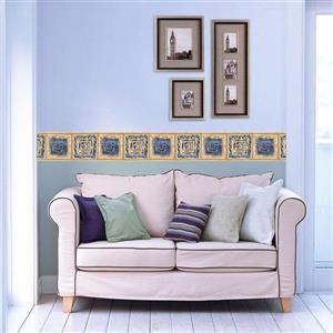 Retro Art Abstract Square Spirals Wallpaper - Blue/Beige