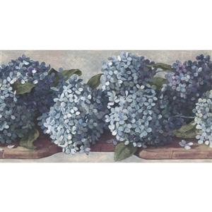 York Wallcoverings Hydrangea and Hortensia Floral Wallpaper - Teal/Blue