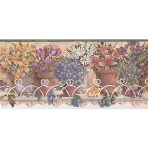 Retro Art Flowers in Pots Wallpaper - Mulitcoloured