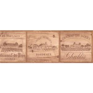 York Wallcoverings French Grape Yards on Faux Wooden Squares Wallpaper