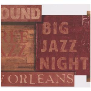 York Wallcoverings Jazz Distressed Signs Vintage Scalloped Wallpaper