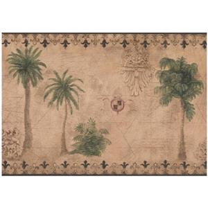 York Wallcoverings Palm Trees Wallpaper - Green/Brown