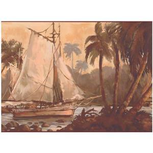 York Wallcoverings Sailboat and Jungle River Hut Wallpaper