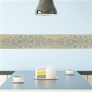 Norwall Stone Trellis Wallpaper Border - Blue/Yellow