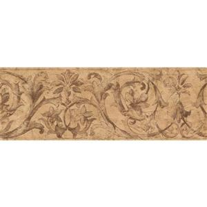 Norwall Abstract Damask and Scrolls Wallpaper - Brown