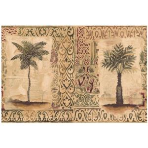 Norwall Vintage Palm Trees in Square Carpet Wallpaper