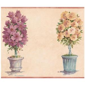 Norwall Vintage Flowers in Pots Wallpaper - Tan
